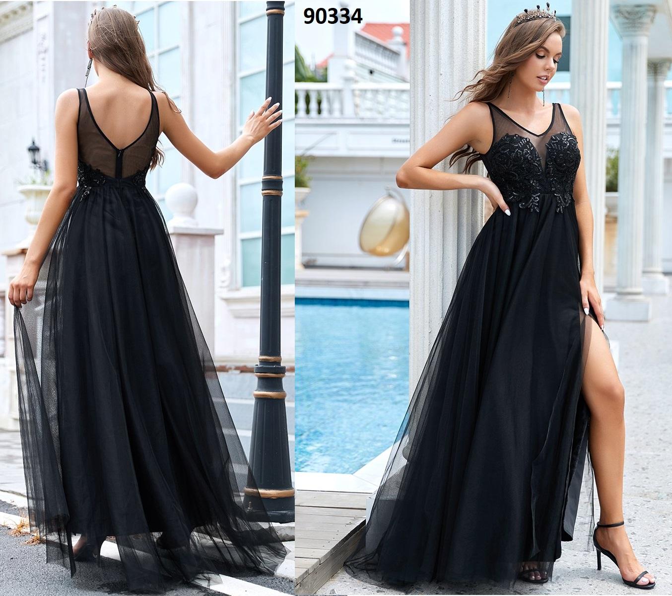 Sin mangas, sin espalda, una línea de vestido  con división 90334
