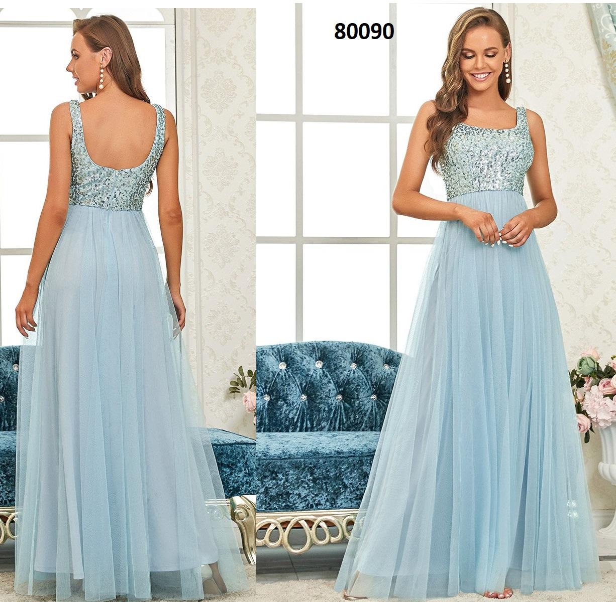 Espectacular cuello en U sin mangas una línea de vestidos de dama de honor 80090