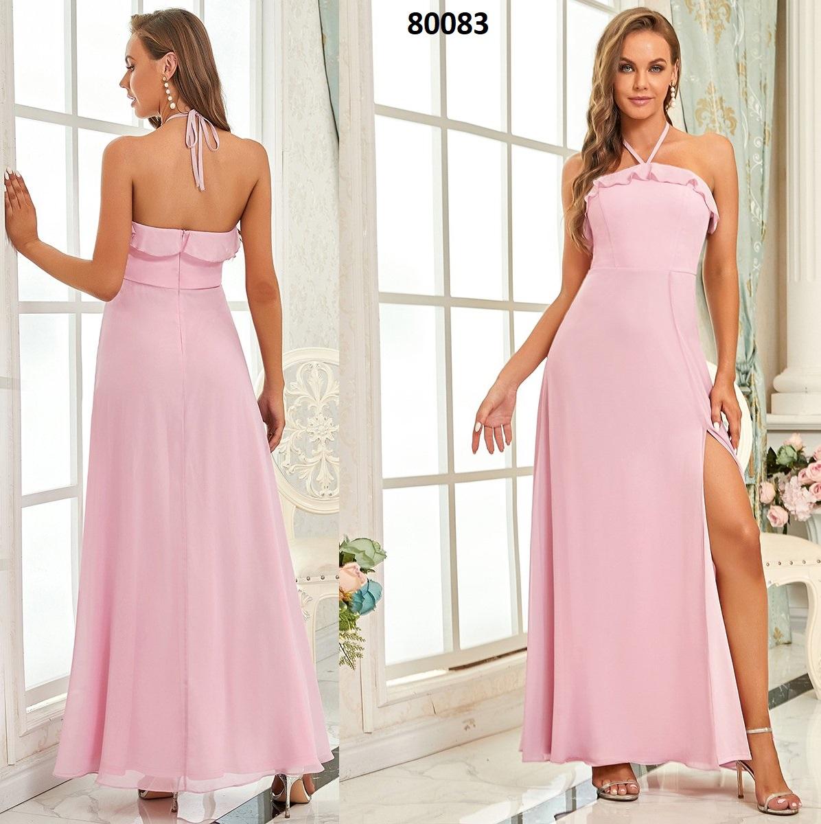 Cuello halter simple sin mangas una línea de vestidos de dama de honor 80083