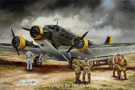 Junkers JU 52 Kreta Ausführung mit Fallschirmjägern