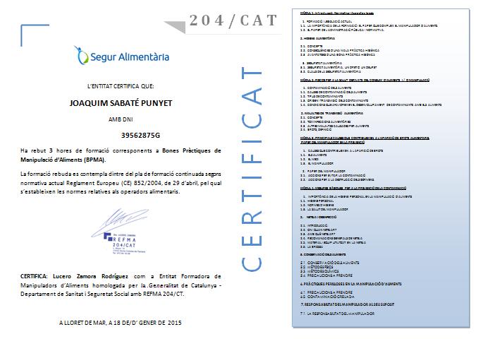 Curs Certificat Manipulador d'Aliments Online
