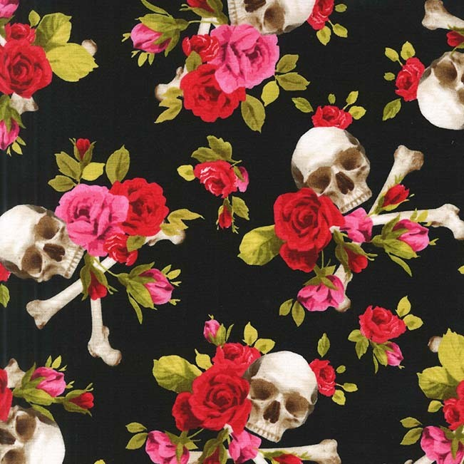 Michael Miller Skulls & Roses