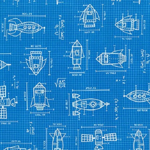 Spaced Out Blue Blueprint Rockets