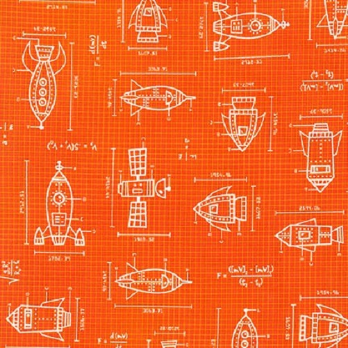 Spaced Out Orange Blueprint Rockets