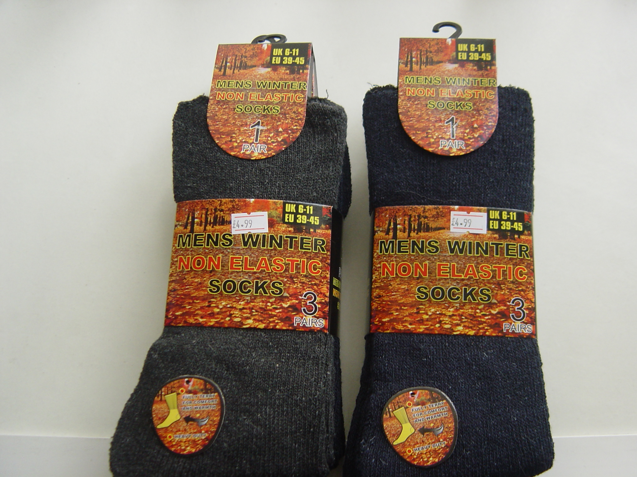 MENS WINTER NON-ELASTIC SOCKS - 3 PAIR PACK