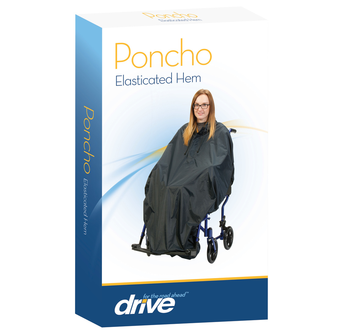 ELASTICATED HEM PONCHO - NAVY