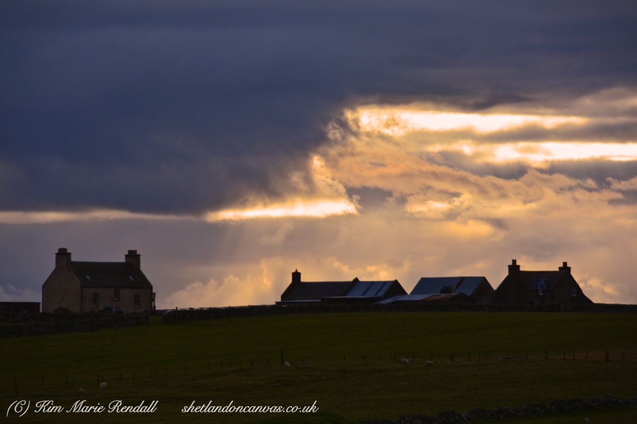 Dramatic Rays of Light over Belmont House, Unst