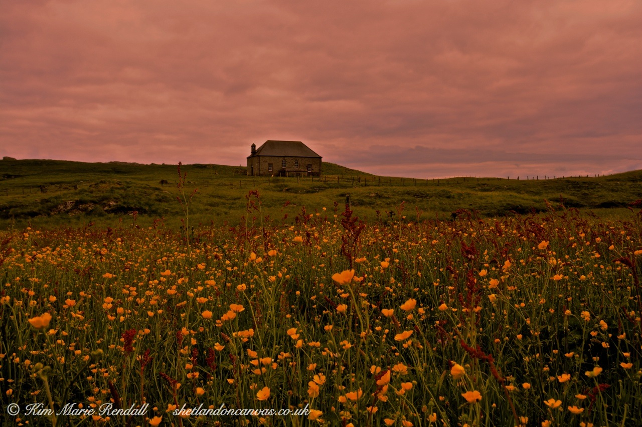 Sunset and Wildflowers at St Ola's Kirk, North Nesting