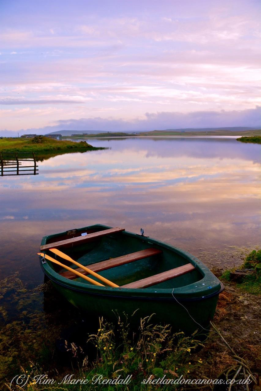 Peerie Boat at Sunset, Benson Loch, South Nesting