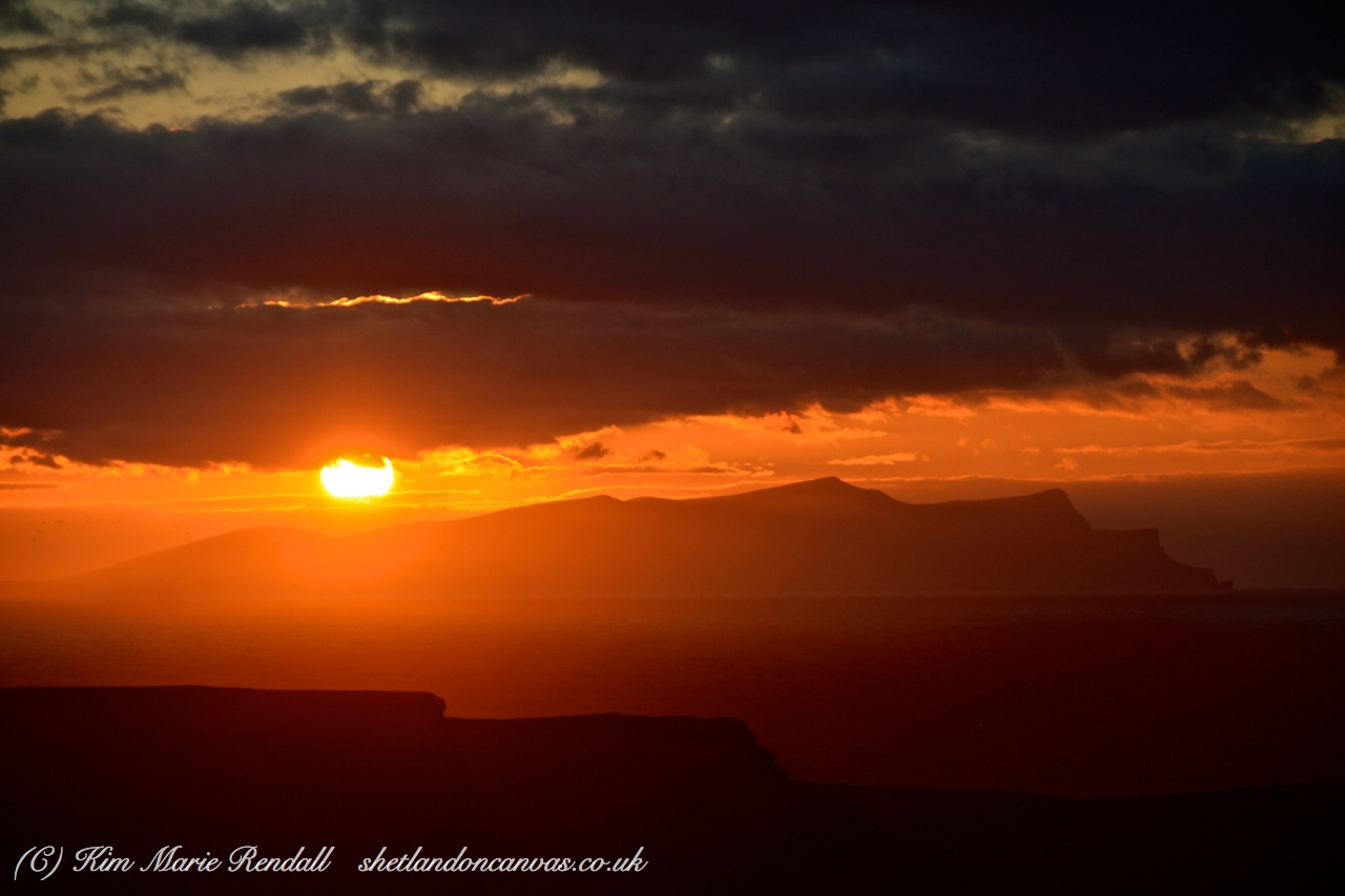Winter Sunset over Foula (from Dale of Walls)