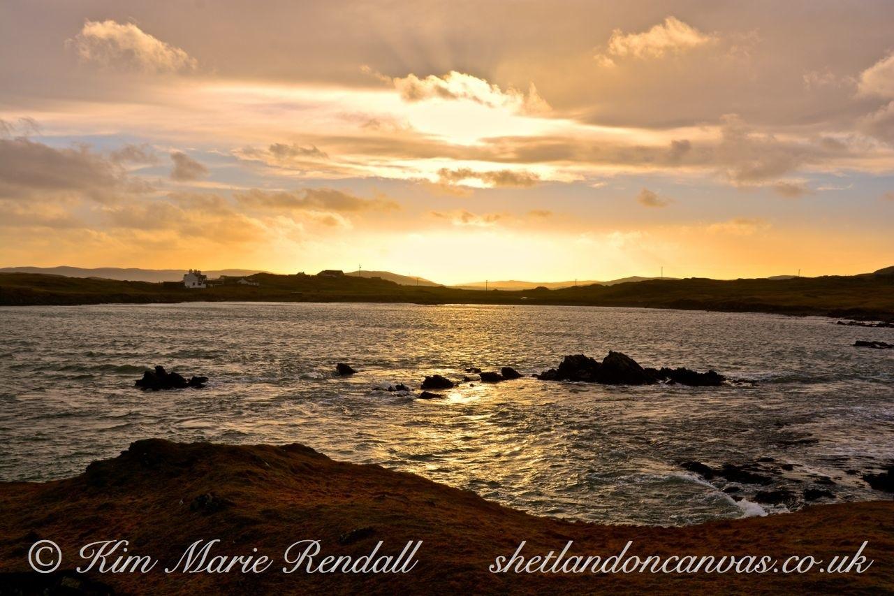 Golden Winter Sunset at Gletness, South Nesting