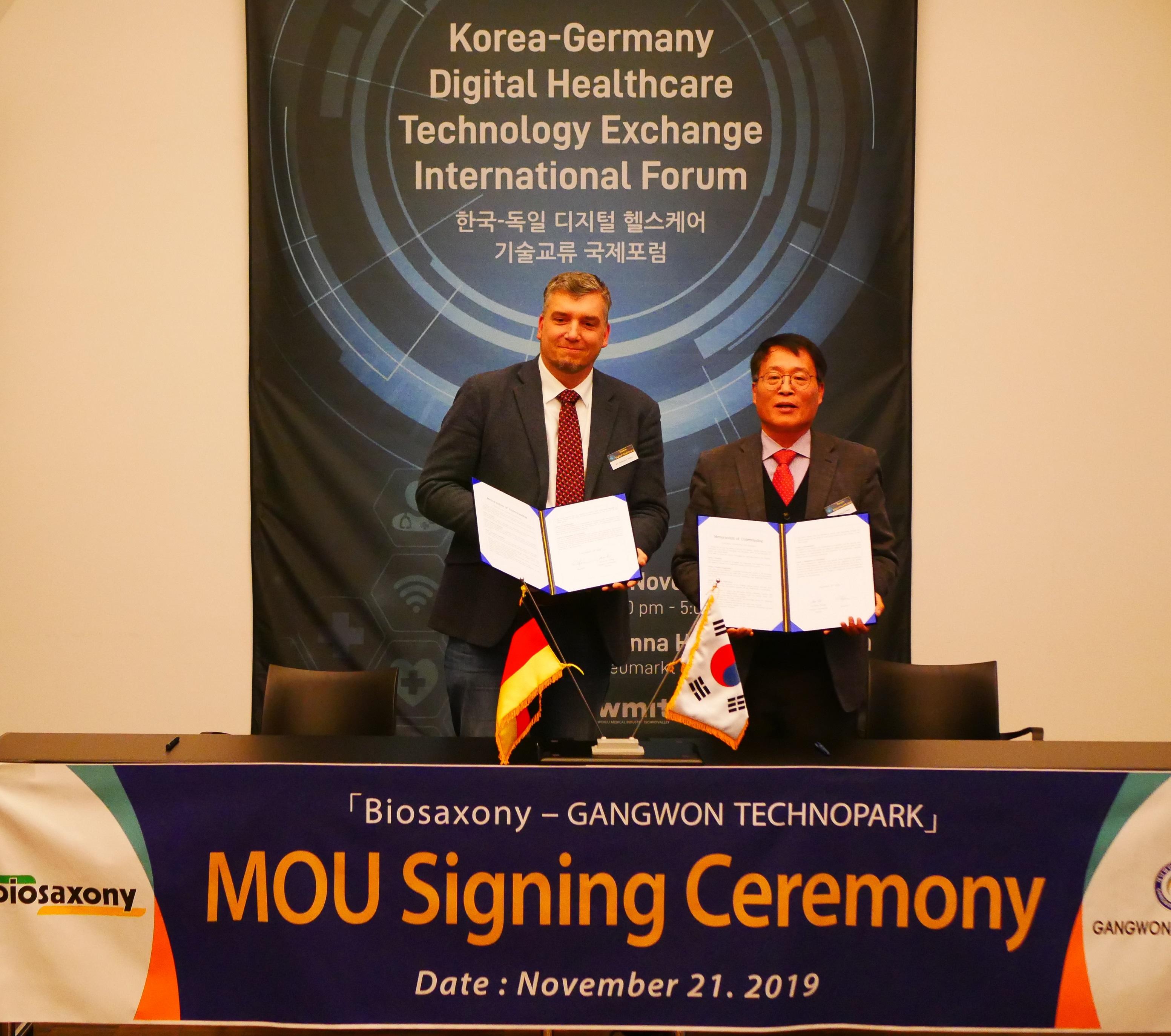 MOU between Gangwon Technopark and biosaxony e.V.