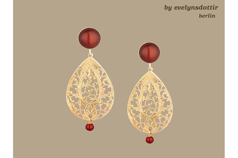 Ornament Ohrringe vergoldet