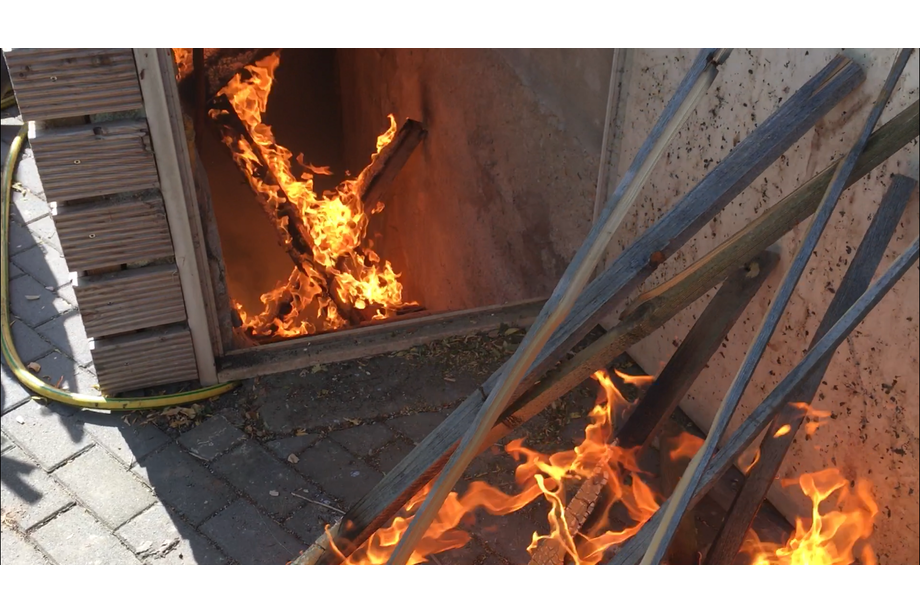 Simuliertes Feuer in Bunkeranlage
