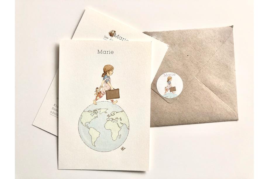 Gedruckte Geburtskarte mit Sticker - Marie