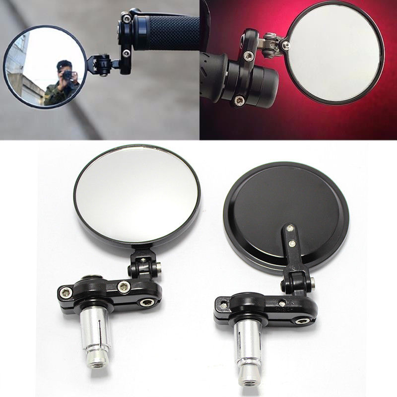 Bar end mirrors round - Black