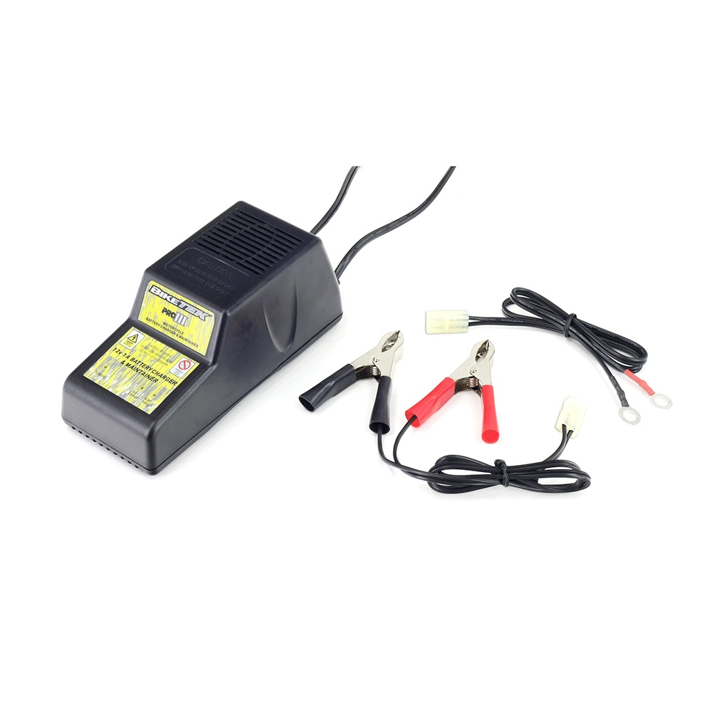 BikeTek Pro-3 Battery Charger 3 Pin 12V 1A - Male Connector Block