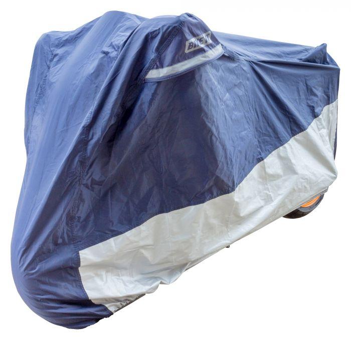 Bike It Deluxe Heavy Duty Rain Cover - Blue/Silver - Medium Fits Most  50cc - 600cc