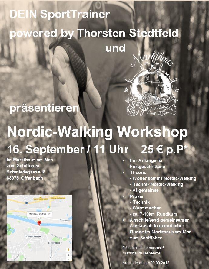 Nordic-Walking Workshop 16.09.2018 (11 Uhr) Im Markthaus am Maa Zum Schiffchen --- Preis pro Pers.