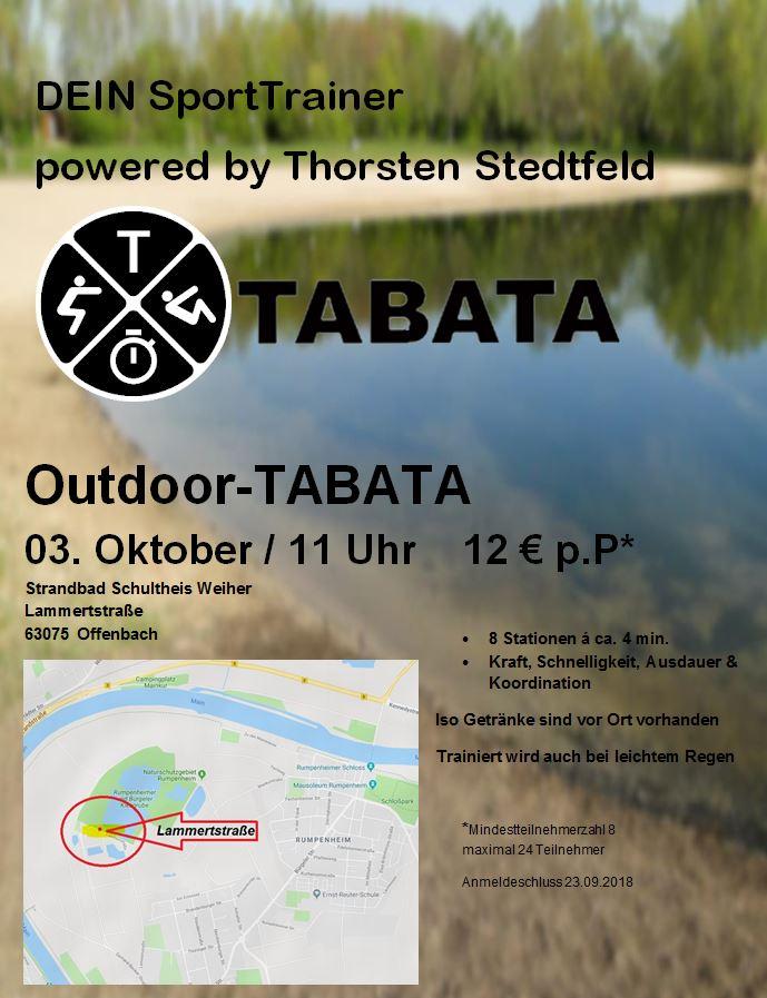 Outodoor-TABATA 03.10.2018 (11 Uhr) Strandbad Schultheis Weiher Lammertstraße 63075 Offenbach --- Preis pro Person