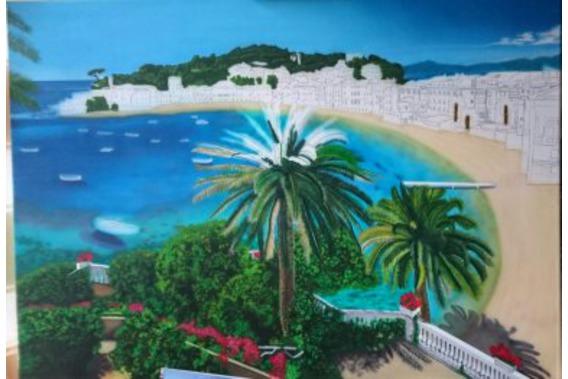 Airbrush, Palmenstamm, Palmwedel mit Pinsel gemalt