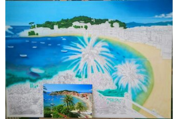 Beginn Airbrush, Meer, Strand, Wald