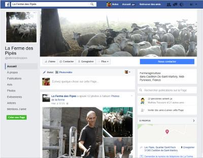 Page facebook de la ferme des Pipès