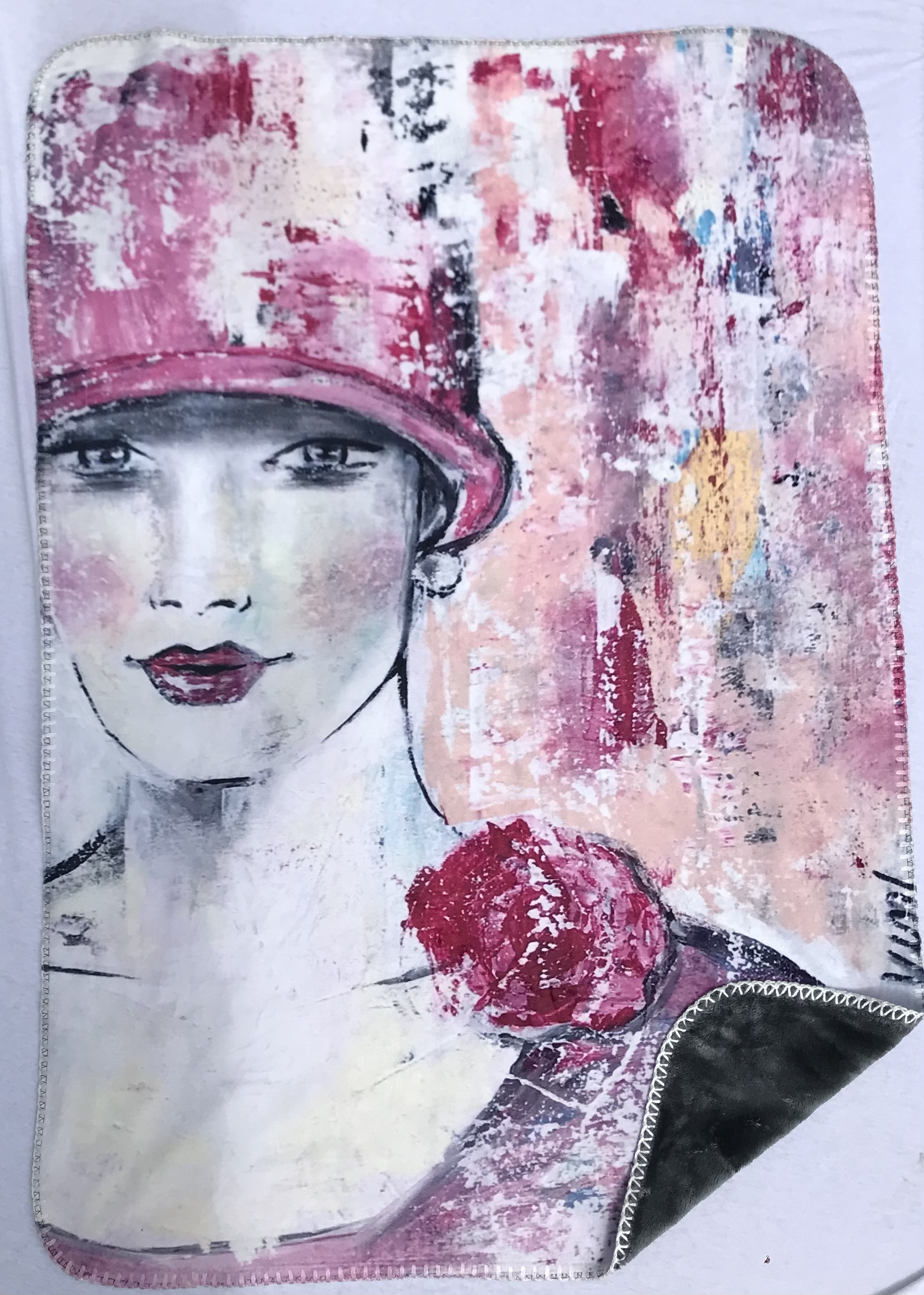 07 Decke Dame mit Hut Rosé