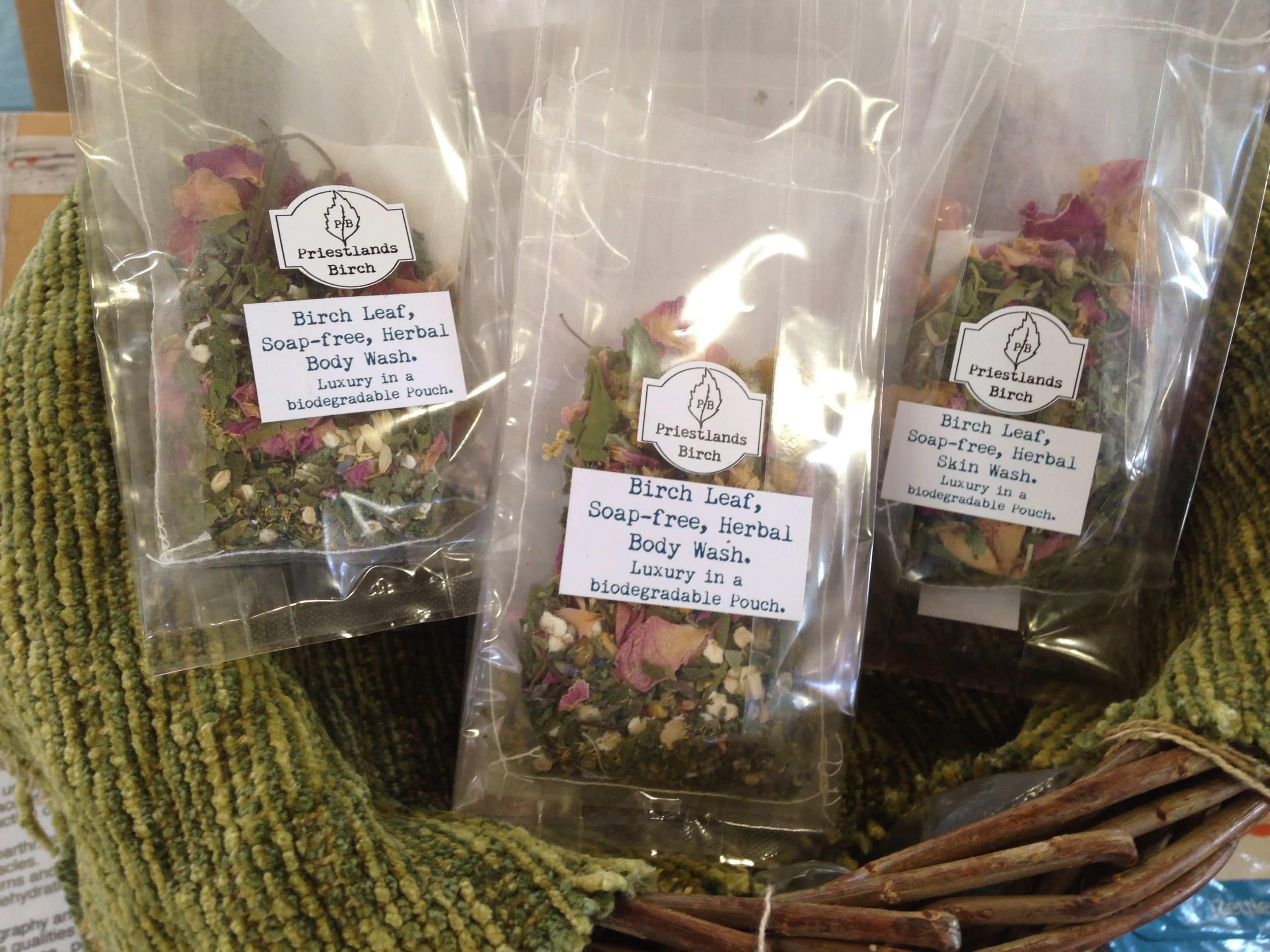 Birch leaf, soap-free, herbal body wash pouch.
