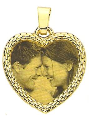 Placa Corazón Oro Con Fotograbado