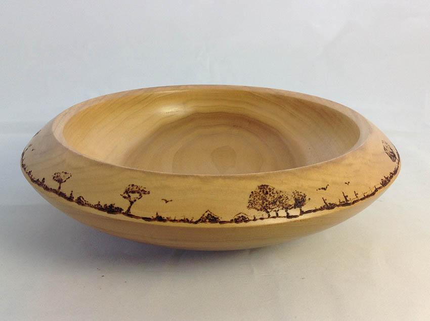 Landscape Pyrographed Bowl