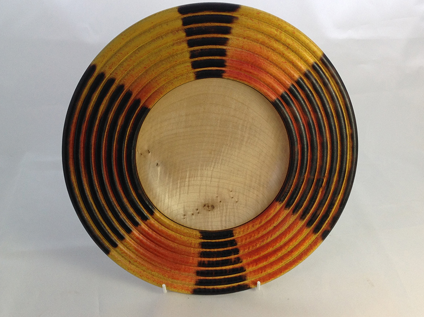Beaded and coloured sycamore bowl