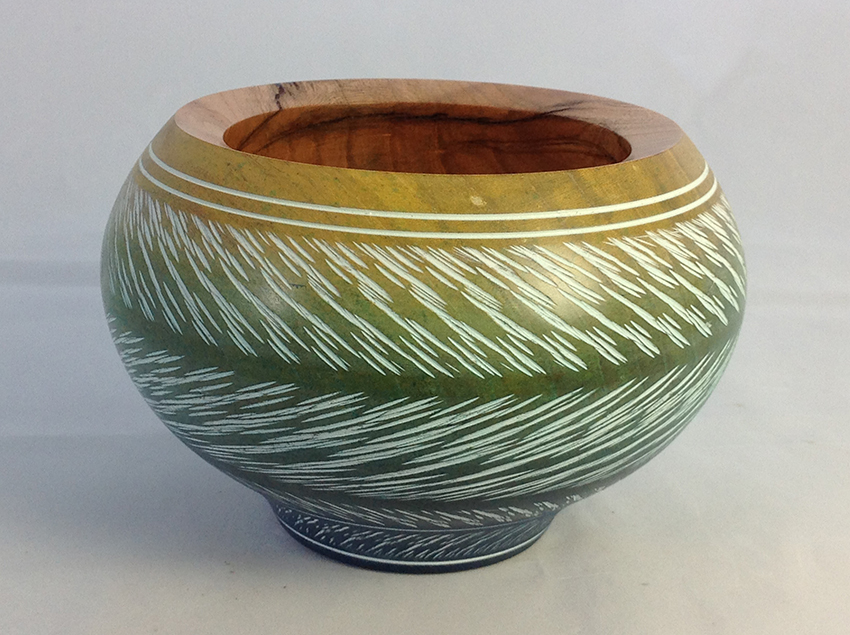 Coloured and textured cherry bowl