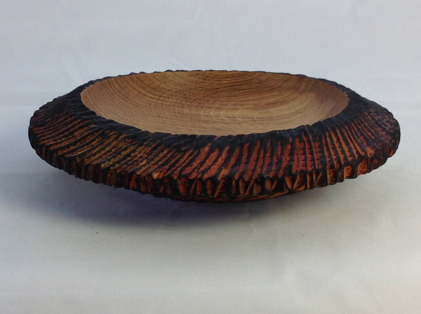 Chainsaw textured bowl