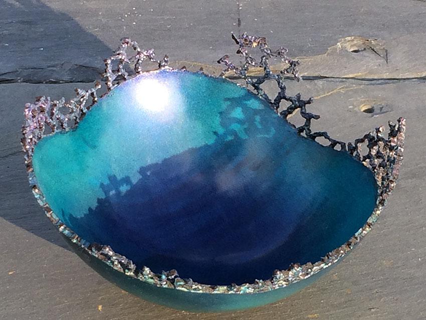 Pierced blue coral bowl