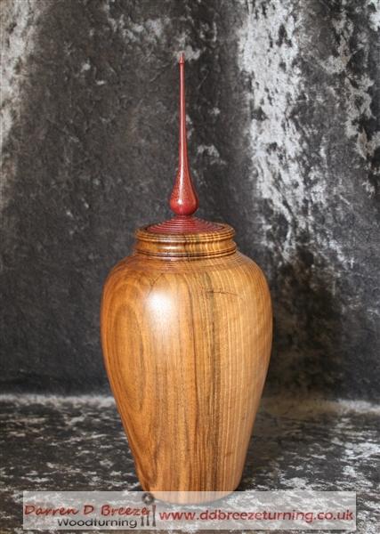 Walnut lidded vase