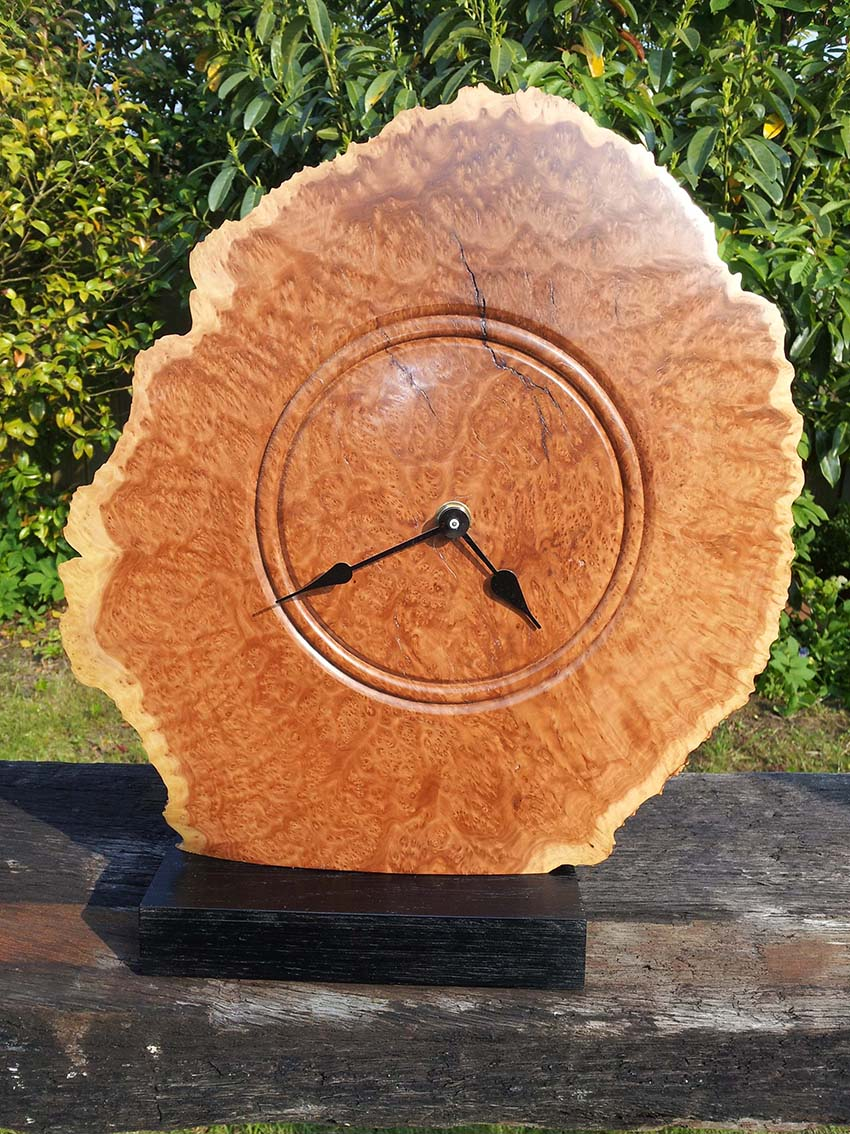 Double sided Goldfield Burr clock