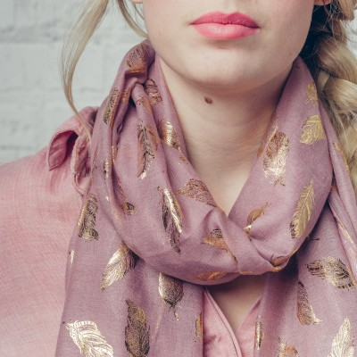 Pink metallic feather scarf