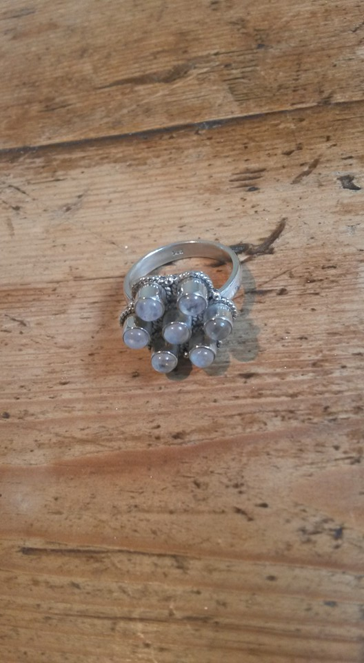 Rainbow moonstone & silver flower ring ( US size 6)