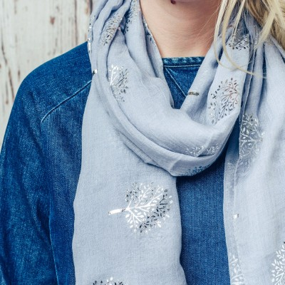 Grey scarf with silver sparkly trees