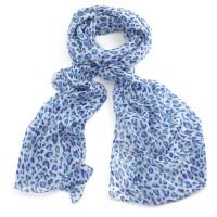 Blue & white animal print scarf