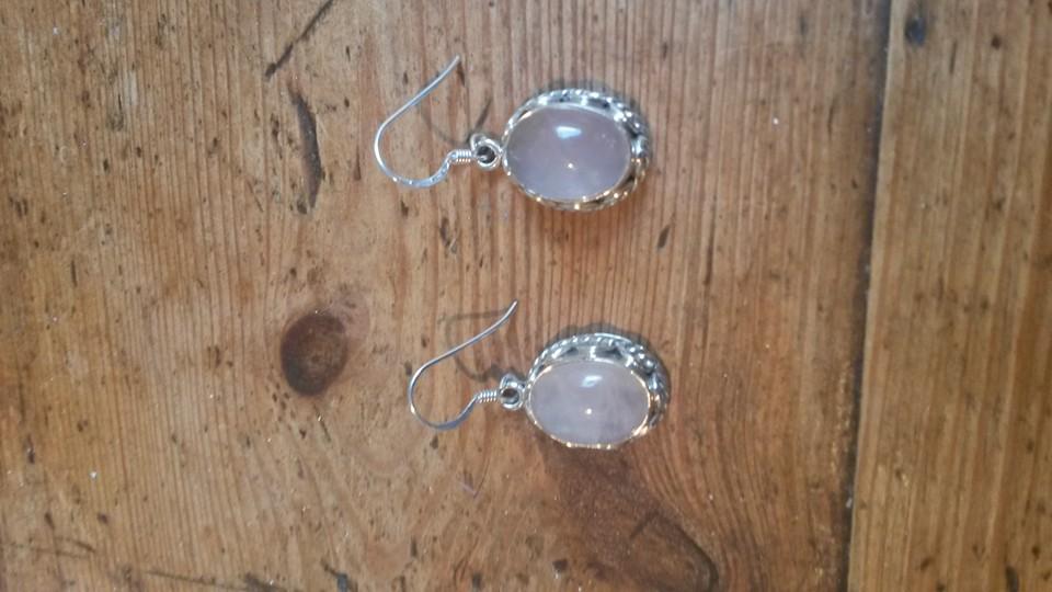 Rose quartz & silver drop earrings
