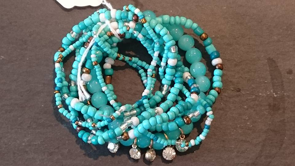 Turquoise & brown bracelets with sparkly detail