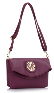 Purple crossover bag with gold detail