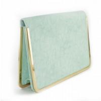 Pale green clutch bag
