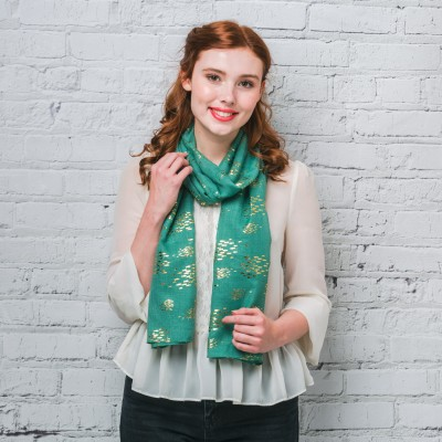 Green & gold fish patterned scarf