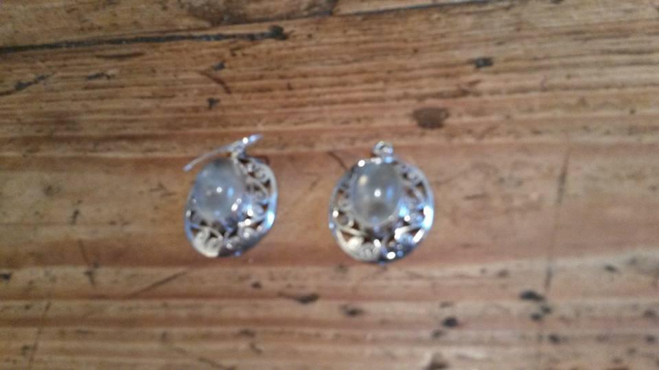 Green prehnite & silver earrings