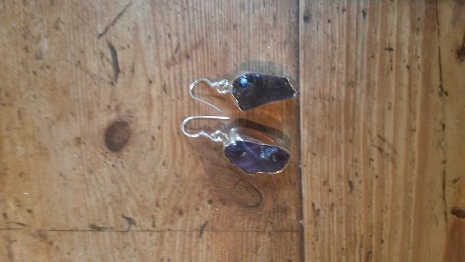 Amethyst rough stone earrings