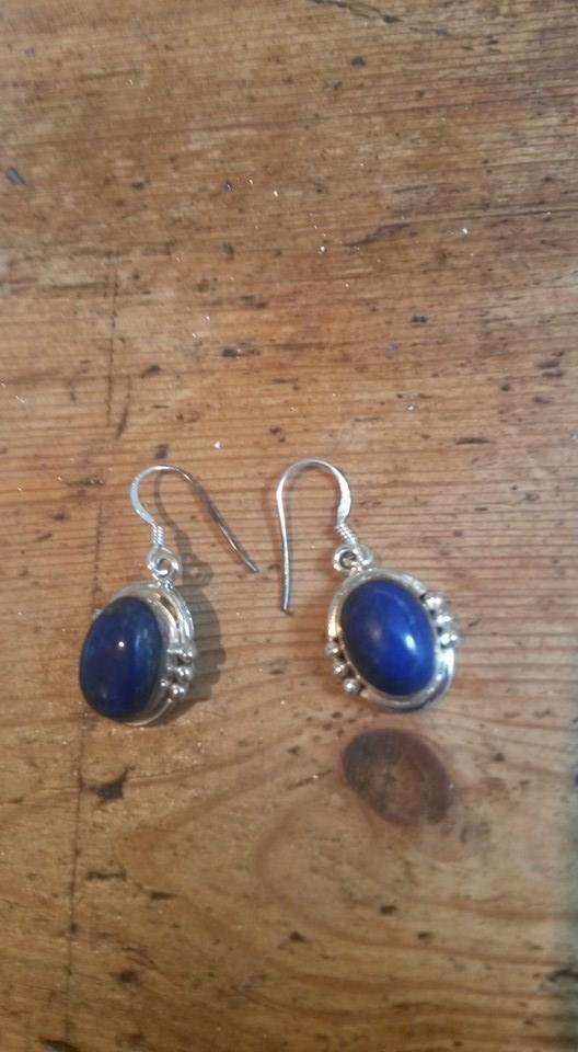 Blue lapis & silver drop earrings