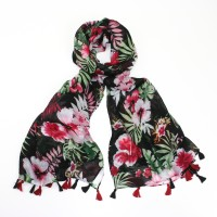 Black tropical flowers scarf